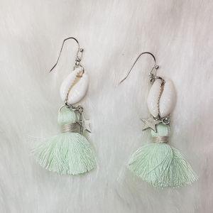 Green Tassel Shell and Star Earrings